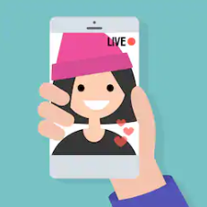 cartoon image of handheld smartphone video selfie